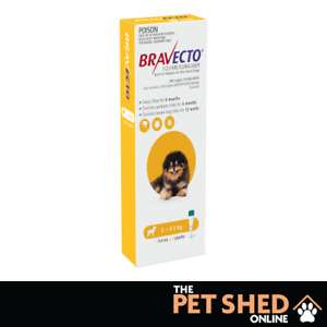 Bravecto Yellow SPOT ON  Ex-Small Dogs 2-4.5kgs Kill Flea, Ticks&Mites 1 Pipette
