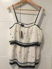 Witchery Ruffled Ivory and Black Polka Dot Silk Top Size M