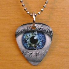 Metal Guitar Pick Necklace HUMAN EYE eyeball eyes optometrist pendant charm