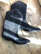 ❤ Sexy Stead Simpson Stivaletti Neri in Pelle Al Polpaccio Stivali Da Cowboy Rodeo UK8 EU42