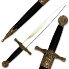 15.5in Medieval Dagger | Beautiful Intricate Design Crested Pommel w Scabbard