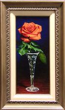 William Martin Orange Rose Original Oil custom frame canvas Hand Signed
