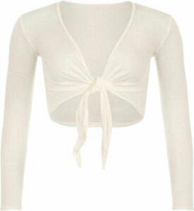 New Ladies Knot Tie Up Front Shrug Short Sleeve Women's Open Cropped Bolero