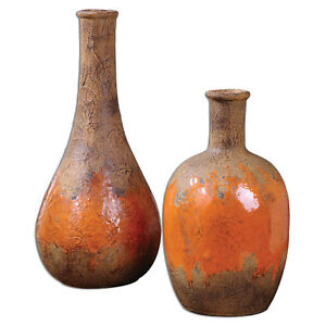Sunrise Pottery Vases Set | Rust Brown Orange Ceramic Rustic Tuscan Mid Century