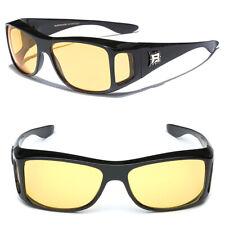 Night Vision Yellow Lens Sunglasses Driving Goggle Fit Over Prescription Glasses