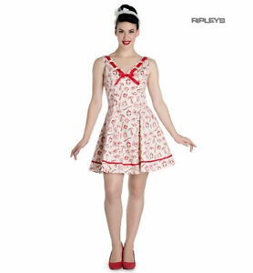 Hell Bunny 50s Mini Sailor Nautical Dress ALIZEA Ivory & Red XS UK 8