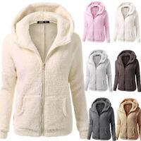 Women Winter Warm Teddy Bear Pocket Fluffy Coat Fleece Fur Long Sleeved Jackets