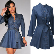 UK 6-20 Button Women Lace-up Long Sleeve Denim Look Jeans Mini Dress Tops Kaftan
