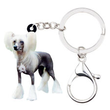 Acrylic Chinese Crested Dog Keychain Rings Animal Jewelry For Women Wallet Gifts