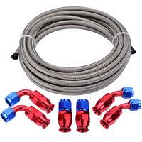 Braided PTFE 3/8 Fuel Line Hose with 6AN PTFE Hose Fittings for E85 Ethanol Fuel