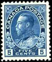 Canada #111 mint VG OG HHR 1914 King George V 5c dark blue Admiral CV$300.00