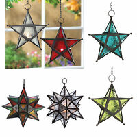 Hanging Wrought Iron Star Tea Light Candle Holder LANTERN Pressed Glass Panels