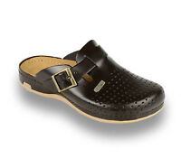 LEON 700 Mens Leather Slip On Mules Clogs Sandals Slippers Shoes, Brown, New UK