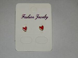 Red Enamellled Heart Micro-Earrings Stud Fixing
