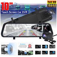 10'' Car DVR 1080P FHD Dual Lens Camera Rear View Mirror Dash Cam Night Vision