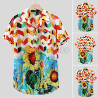 Men's Hawaiian Short Sleeve Floral Casual Beach Shirts Holiday Fancy Tops Blouse