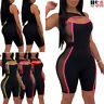 US Women Sleeveless Zipper Patchwork Bodycon Club Casual Sport Short Jumpsuit