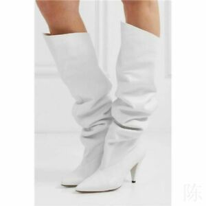 New Women's High Heel Pointed Toe Slouchy Knee Boots Pull On Shoes T Stage Show