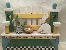 Debbie Mumm Easter Eggs Bunny Decoration Wall Hanging Country Bench Folk Art