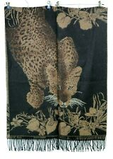 Black Brown Leopard Savvanah Fringe Shawl Blanket 36L x 28W Inches