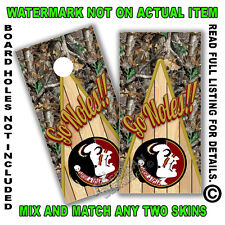 Camo (Go) Noles Cornhole Board Decals Wrap Set of 2 Cornhole Sticker