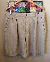 Tommy Bahama Men's Bermuda Shorts Size 34 100% Silk Pleated Zip Fly
