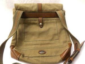 Fossil  Messenger Bag Canvas Brown Leather Trim Shoulder Carryall Bag