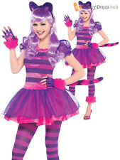 Girls Alice In Wonderland Cheshire Cat Pink Purple Book Day Fancy Dress Costume
