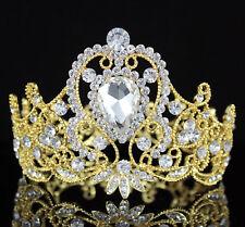 e0e801125f9 7cm High Crystal Rhinestone Women s Girl s Hair Tiara Crown Bridal Gold  T12107g