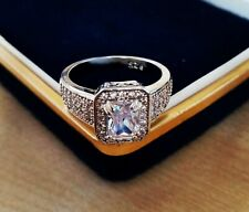 Stunning 925 Silver Created Diamond Sparkling Statement Ring - Size N