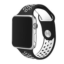 Silicone Rubber Wristband Strap For Apple i-Watch Size 38mm - Black White