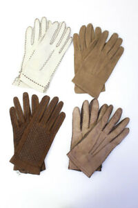 Saks Fifth Avenue Sacha Womens Leather Gloves Brown Size 6 Lot 4