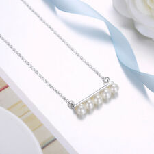 Classic 925 Sterling Silver Filled Long White Pearls Pendant Charm Necklace Gift