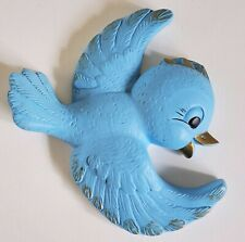 Vintage chalkware Favor Ware Blue Bird wall plaque mid century kitsch 1950s