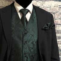 Dark Forest Green Paisley Tuxedo Suit Dress Vest Waistcoat & Neck tie Hanky Set