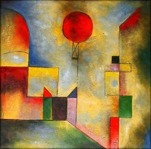 Stretched, Quality Hand Painted Oil Painting Repro Paul Klee Red Balloon 36x36in