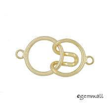 18kt Gold Plated Sterling Silver 1-Strand Round Hook and Eye Clasp #99582
