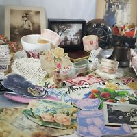 Vintage Box Lot lace tea cup photo ephemera towel steampunk retro decor