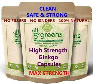 Ginkgo Biloba Capsules 15,000mg Vegan Natural Strong & Effective Clean 5greens