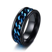 8mm Blue Spinner Chain Band Men's Stainless Steel Wedding Black Ring Size 7-13