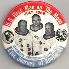 "Original 3.5"" July 1969 APOLLO XI Pin! EPIC JOURNEY Of APOLLO 11 w 3 Astronauts"