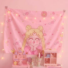 Anime Sailor Moon Pink Wall Hanging Tapestry Decor for  Bedroom Decor Tablecloth