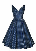 New Ladies 1940's 1950's Vintage Style Navy Dot Flared Cotton Swing Tea Dress