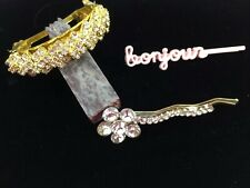 3 Rhinestone Barrettes Bobby Pin PonyTail Crystal Accessory Pink Bonjour Vintage