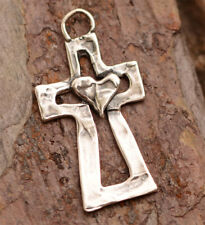 Sterling Silver Cross Pendant, Heart on a Cross Pendant, PX-144