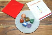7 Chakra Tumbled Stones Set With Selenite Round Charging Plate, Guide & Pouch
