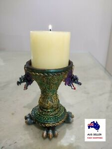 Twin Fantasy Dragons Pillar Candle Holder Coloured Resin Home Decor FREE CANDLE