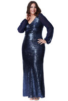 Goddiva Sequin Long Chiffon Sleeve Maxi Prom Evening Gown Plus Size Party Dress