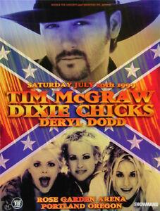 Tim McGraw Dixie Chicks Deryl Dodd 1999 Concert Poster  Rose Garden OR - Country