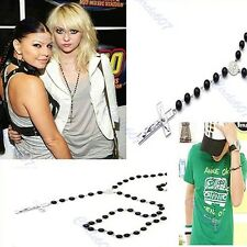 Stylish Retro Necklace Gossip Girl's Men's Cross Pendant Black Beads Rosary